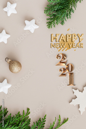 Fototapeta Happy new year 2021 concept, with colourful floral designs, embracing the forth coming new years eve 2021. obraz