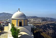 Tradicional Greek Church At Santorini - Thera City Fira City Landscape - Thira