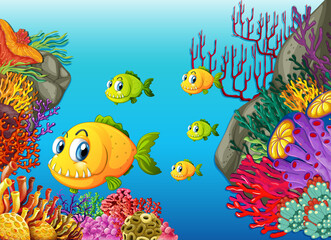 Fototapeta na wymiar Many exotic fishes cartoon character in the underwater scene with corals