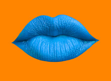 Blue Lip Mouth Over Orange Background-Kiss Lips,Makeup Pattern With Colorful Lips, Fashion Wallpaper.