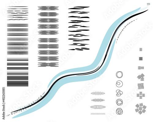 Fotografia Set of 55 etching pattern sketch brushes for illustrator, drawing, retro, vintage, shading, engraved, hatching, water/wind effect, lino cut, pointillism/dot art