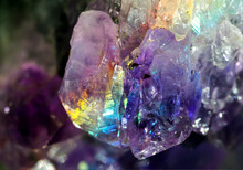 Beautiful Crystal Magic Amethyst Gem Stone. Texture Of Specimen With Scattered Natural Light Effect.