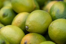 Fresh Yellow Green Lemons At The City Market