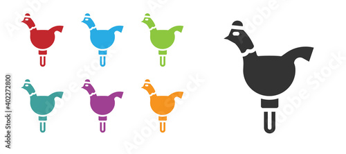 Black Candy cockerel lollipop on a stick icon isolated on white background Fototapet