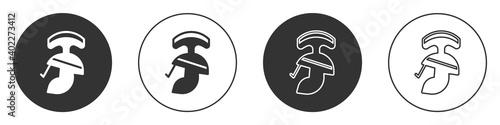 Fototapeta Black Roman army helmet icon isolated on white background