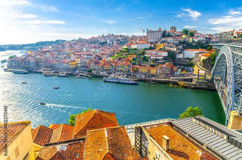 Canvas Print Aerial panoramic view of Porto Oporto city historical centre with Ribeira distri