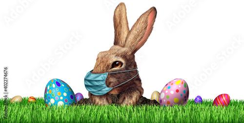 Easter Bunny Rabbit Face Mask Fotobehang