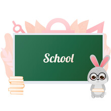 Cute Bunny Holding Book And Standing Near Blackboard, Shool Banner For Kids In Cartoon Sryle, Educational Leaflet, Back To School Illustration