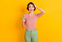 Photo Of Attractive Lady Cant Believe Open Mouth Arm On Head Isolated On Vivid Yellow Color Background
