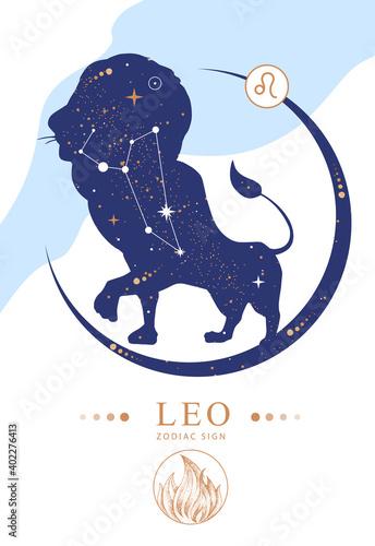 Stampa su Tela Modern magic witchcraft card with astrology Leo zodiac sign