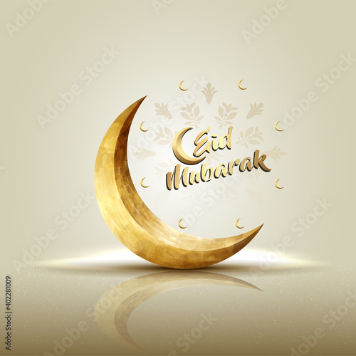 islamic greeetings eid mubarak card design with crescent moon Fotobehang