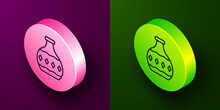Isometric Line Tequila Bottle Icon Isolated On Purple And Green Background. Mexican Alcohol Drink. Circle Button. Vector.