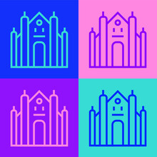 Pop Art Line Milan Cathedral Or Duomo Di Milano Icon Isolated On Color Background. Famous Landmark Of Milan, Italy. Vector.