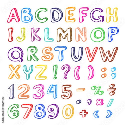Photo Hand drawn cartoon alphabet set, graphic art