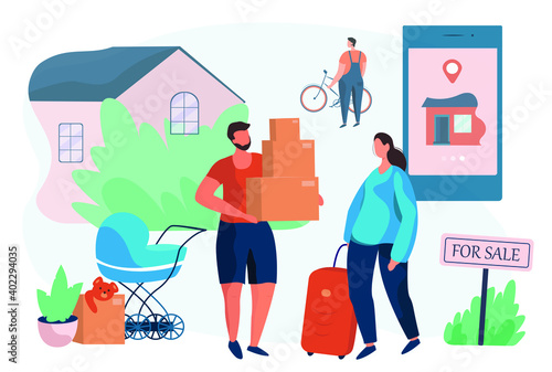 Fototapety, obrazy: Moving and Buying House.Big House For Sale.Family Characters Buy New House Online in Internet .Property Selling.Buying Real Estate Apartments.Moving Home.Relocation Process.Flat Vector Illustration