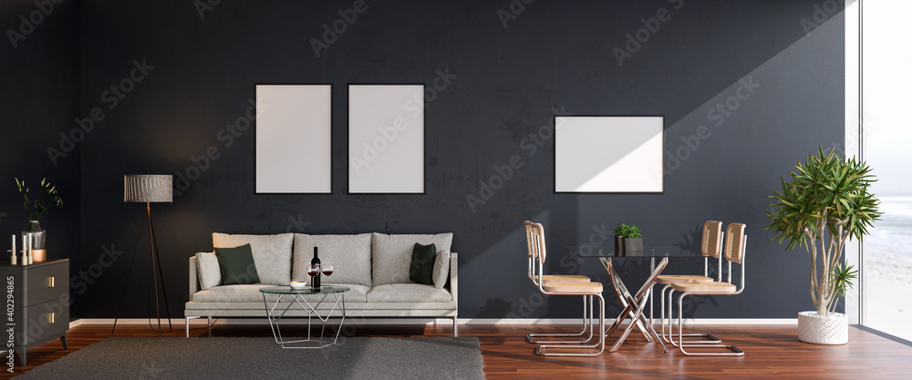 Fototapeta Luxury living room in a loft style appartement with sofa, coffee table, dining area, sideboard, carpet, plant. Large floor-to-ceiling windows to a beach and ocean. Mockup picture frames on the wall.