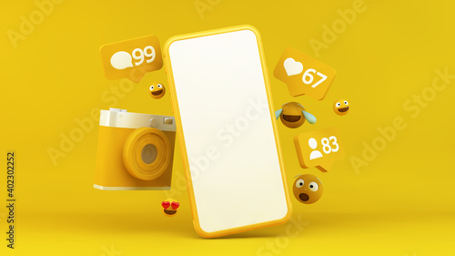 Smartphone with social media notifications