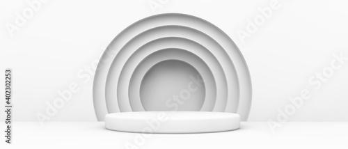 podium with white circles