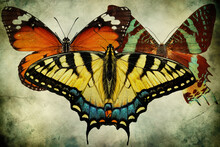 Old Paper Texture With Exotic Magnificent Butterflies. Common Yellow Swallowtail, Papilio Machaon. Danaus Chrysippus, Plain Tiger Or African Monarch.  Madagascan Sunset Moth, Chrysiridia Rhipheus