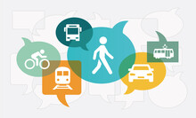 Future Mobility Concepts Vector Illustration (all Layers Full Opacity). Concept With Icons Related To Alternative Urban Modes Of Transport, Flexible Mobility Solutions, Sustainability.
