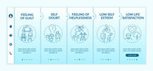 Delaying Tasks Habit Effects Onboarding Vector Template. Self Doubt. Low Life Satisfaction. Helpless Feeling. Responsive Mobile Website With Icons. Webpage Walkthrough Step Screens. RGB Color Concept