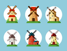 Windmills Set. Old Buildings For Grinding Flour In Cartoon Style Traditional Farming Equipment Bakeries Red Brick Facades And Yellow Wooden Ethnic Retro Architecture Wind Power. Vector Rural Design.