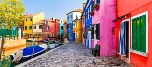 Obraz Most colorful traditional fishing town (village) Burano - Island near of Venice. Italy travel and landmarks - fototapety do salonu