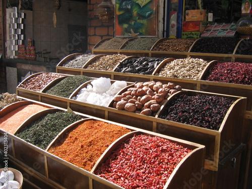 Fototapeta variety of spicies in egyptian market