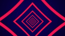 Light Tunnel With Pink Rectangle Elements On A Dark Blue Background. Simple Seamless Motion Graphic Animation