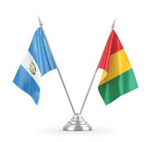 Guinea And Guatemala Table Flags Isolated On White 3D Rendering