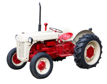 Vintage Farm Tractor Isolated On A White Background