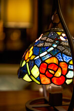 Indoor Stained Glass Table Lamp Close-up