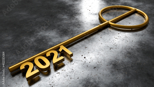 Happy New Year Background. Key with 2021. 3D illustration