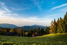 Smrk And Lysa Hora Hills From Bobek Hill In Moravskoslezske Beskydy Mountains On Czech - Slovakian Borders