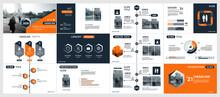 Abstract White, Orange, Slides. Brochure Cover Design. Fancy Info Banner Frame. Creative Set Of Infographic Elements. Urban. Title Sheet Model Set. Modern Vector. Presentation Templates, Corporate.