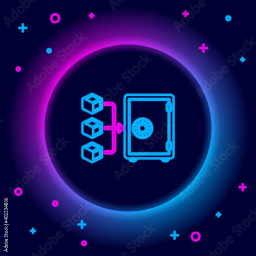 Glowing neon line Proof of stake icon isolated on black background Fototapeta