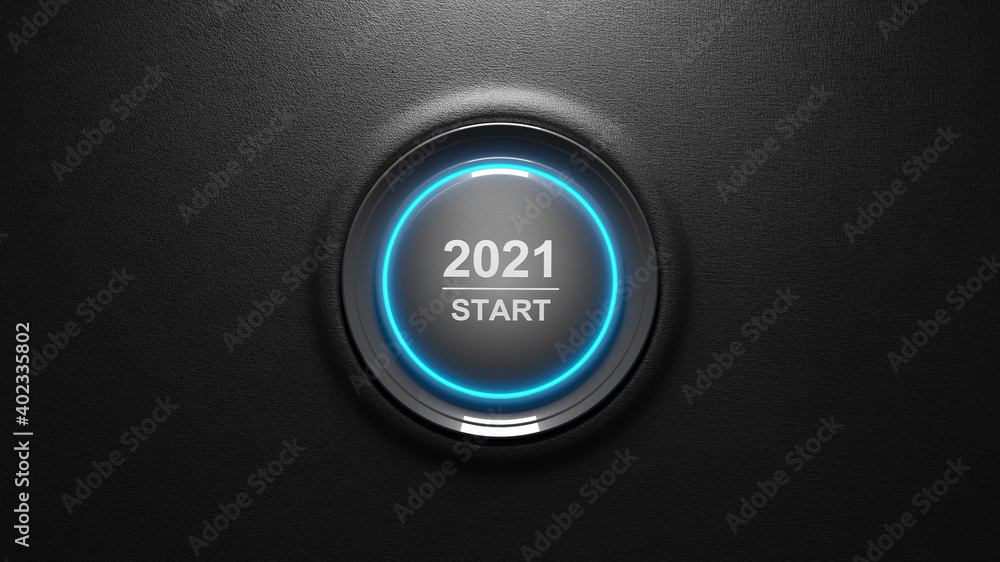 Fototapeta 2021 - Press the start button. Concept of the New Year. 3D illustration