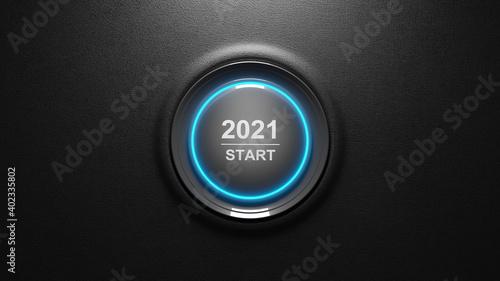 Obraz 2021 - Press the start button. Concept of the New Year. 3D illustration - fototapety do salonu