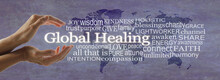 Global Healing Word Cloud Map Campaign Banner - Female Hands Cupped Around White Words GLOBAL HEALING Surrounded By  A Word Cloud On A Rustic Purple World Map Background