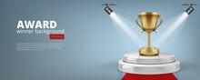 Winner Award On Illuminated Podium Round Stage
