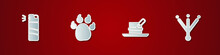 Set Pepper Spray, Paw Print, Hunter Hat With Feather And Bird Footprint Icon. Vector.