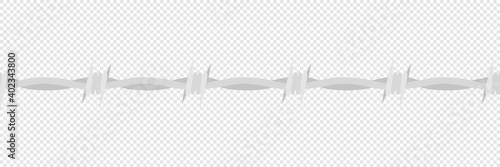 Fotografiet Barbed wire vector danger barrier with spikes, barbwire horisontal seamless flat vector illustration
