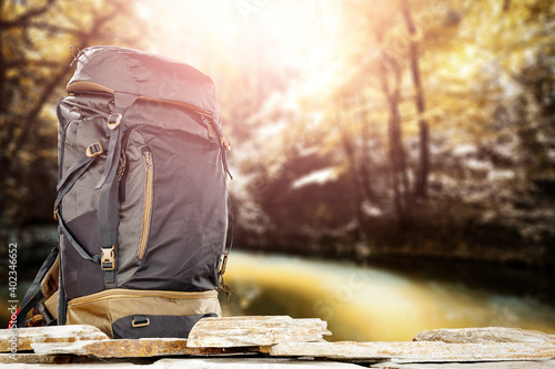 An expedition backpack in beautiful unknown landscapes Fotobehang