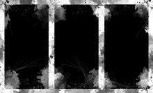 Three Black Vertical Borders Templates, Abstract Grunge White Paint.