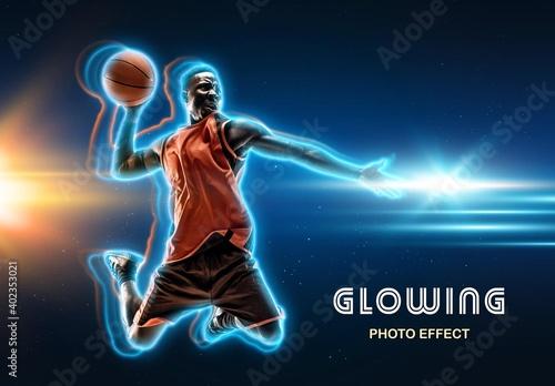 Fototapeta Glowing Outline Photo Effect Mockup obraz
