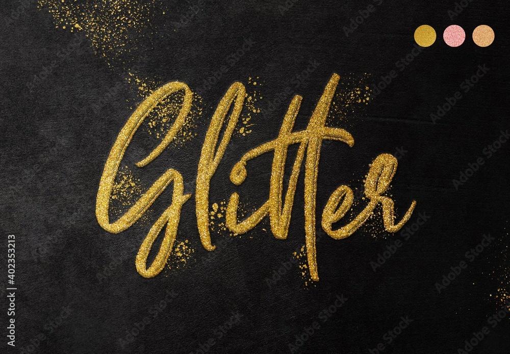 Fototapeta Realistic Glitter Gold Text Effect Mockup