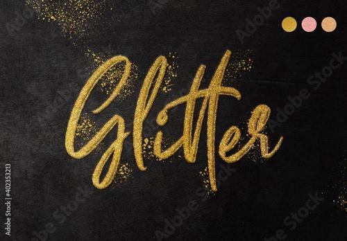 Obraz Realistic Glitter Gold Text Effect Mockup - fototapety do salonu
