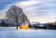 Christmas Tree Next To Beautiful Church In The Mountains - Sunrise