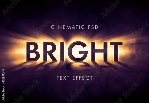 Fototapeta Light Burst or Beem Text Effect Mockup obraz
