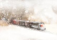 Freight Train In Winter Storm (N-Scale Model Railroad Vignette)
